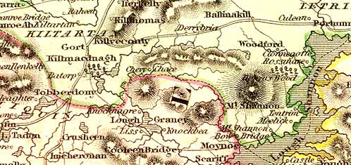 Detail from the Lizars map of Ireland, 1831.