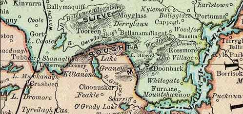 Detail from the Rand McNally map of Ireland, 1897.