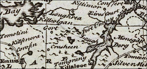 Detail from Bowen map of Ireland, 1747.
