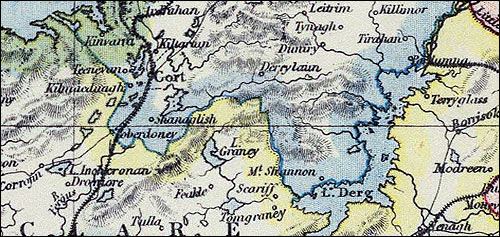 Detail from Letts map of Ireland, 1883.